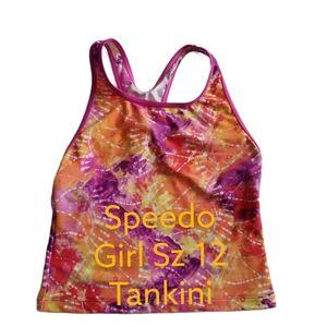 Speedo Sz 12 Girls Tankini Top Swimsuit